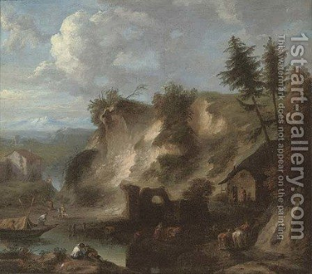 A mountainous river landscape with herdsmen and their cattle by a farm by (after) Isaac De Moucheron - Reproduction Oil Painting