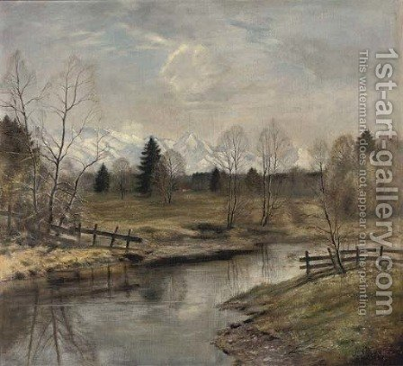 A river in the Caucasus by (after)  Isaac Izrailovich Brodsky - Reproduction Oil Painting
