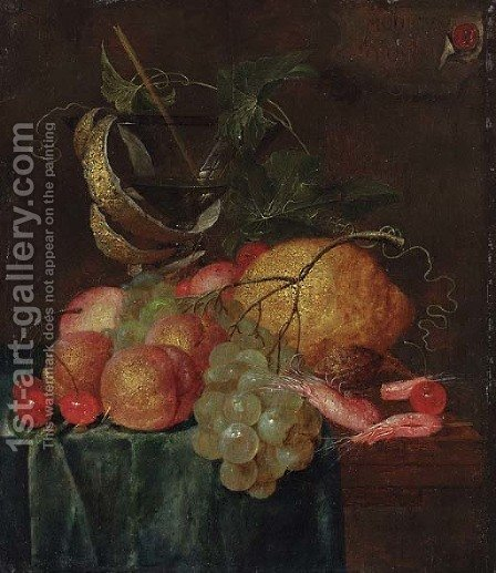 A still life with shrimp, grapes, cherries, peaches and a glass goblet on a partially covered table by (after) Isaac Van Duynen - Reproduction Oil Painting