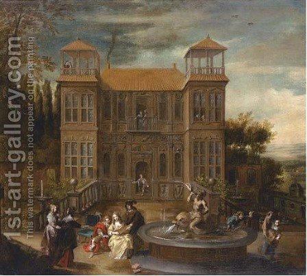 A country house with elegant company playing music and cavorting in the courtyard by (after) Isaak Van Oosten - Reproduction Oil Painting