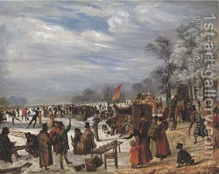 Skaters on a frozen lake by (after) J. Baber - Reproduction Oil Painting