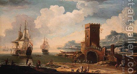 A Mediterranean harbour with a Dutch squadron off the coast and fisherfolk on the shore by a castellated tower by (after) Jacob De Heusch - Reproduction Oil Painting
