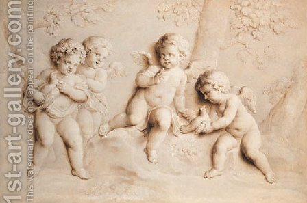 Putti with doves in a landscape - en grisaille by (after) Jacob De Wit - Reproduction Oil Painting
