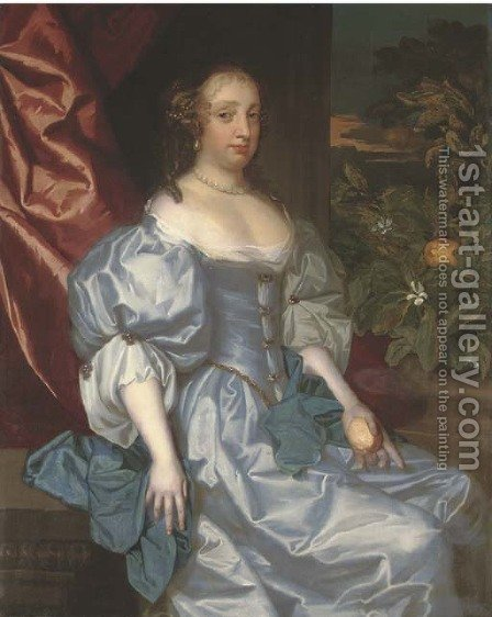 Portrait of a lady, traditionally identified as Catherine of Braganza, three-quarter-length, in a light blue satin dress by (after) Huysmans, Jacob - Reproduction Oil Painting