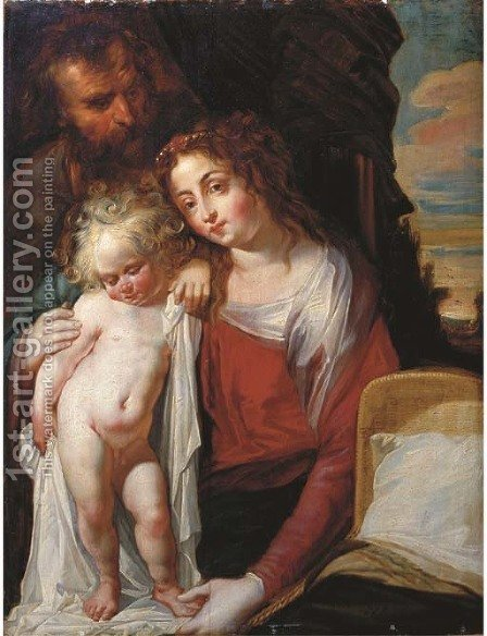 The Holy Family by (after) Jacob Cornelisz Van Oostsanen - Reproduction Oil Painting