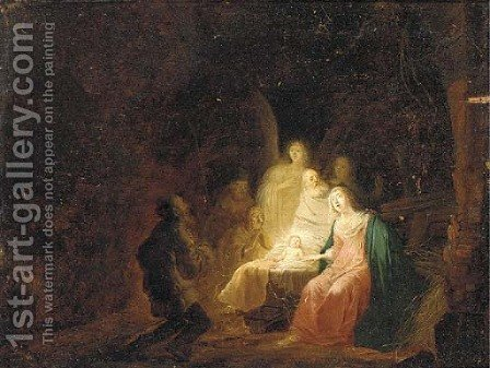 The Adoration of the Shepherds by (after) Jacob Willemsz. De Wet - Reproduction Oil Painting