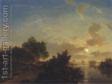 A moonlit river landscape 2 by (after) Jacobus Theodorus Abels - Reproduction Oil Painting