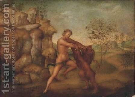 Hercules and the Nemean Lion by (after) Jacopo Torni, Dell'Indaco - Reproduction Oil Painting