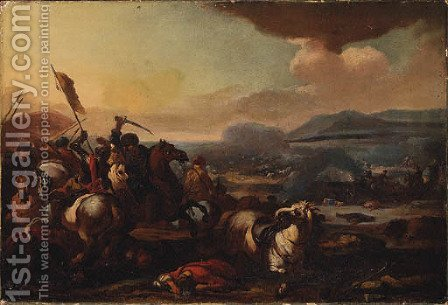 A Cavalry Battle between Turks and Christians by (after) Acques (Le Bourguignon) Courtois - Reproduction Oil Painting