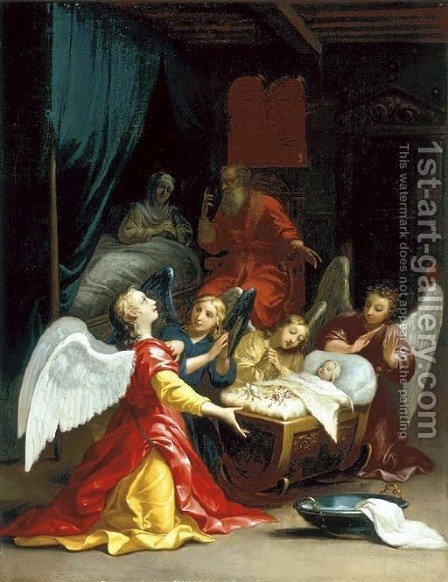 The Birth of the Virgin with adoring angels by (after) Jacques Stella - Reproduction Oil Painting