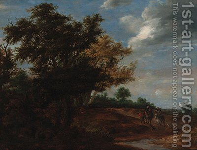 An extensive wooded landscape with travellers and a beggar on a path, Haarlem in the distance by (after) Jacob Salomonsz. Ruysdael - Reproduction Oil Painting
