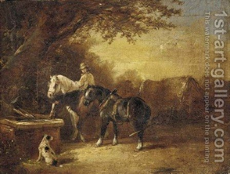 The ploughman's rest; and Horses at a trough by (after) James Bateman - Reproduction Oil Painting