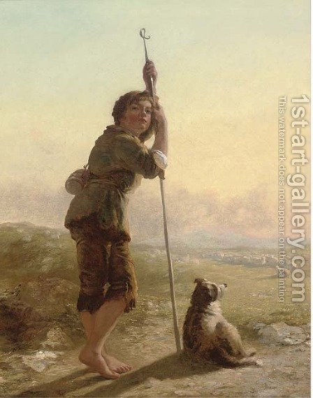 The young shepherd by (after) James John Hill - Reproduction Oil Painting