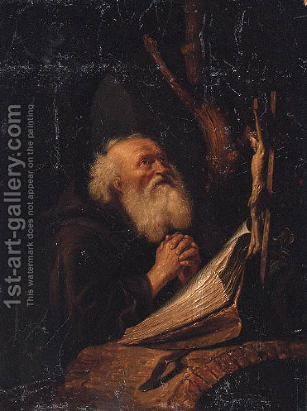 A hermit at prayer by (after) Jan Adriansz Van Staveren - Reproduction Oil Painting