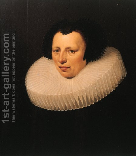 Portrait of a lady, possibly Anna de Neree, nee Wijnhoff (1588-1647) by (after) Jan Anthonisz. Van Ravesteijn - Reproduction Oil Painting