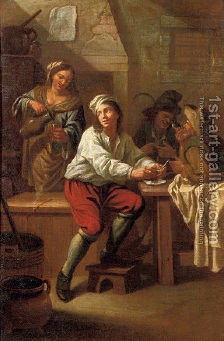Peasants drinking and smoking in an interior by (after) Jan Baptiste Nollekens - Reproduction Oil Painting