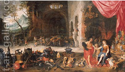 Venus at the Forge of Vulcan by (after) Jan, The Younger Brueghel - Reproduction Oil Painting
