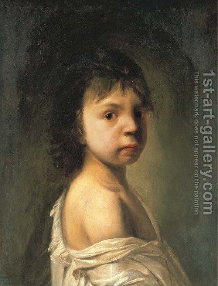 Portrait of a boy in a white shirt by (after) Jan De Bray - Reproduction Oil Painting