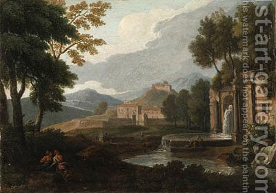 An Italianate Landscape with a Fountain and Philosophers resting in the foreground by (after) An Frans Van Orizzonte (see Bloemen) - Reproduction Oil Painting