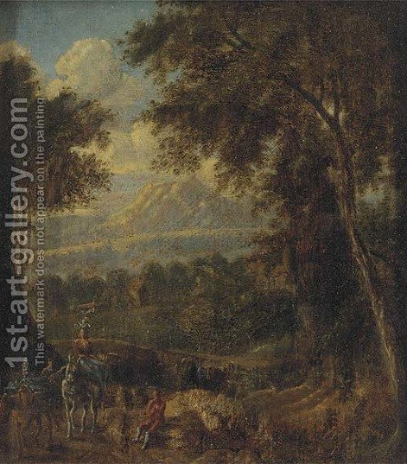 A mountain landscape with travellers on a wooded track by (after) Jan Frans Van Orizzonte (see Bloemen) - Reproduction Oil Painting