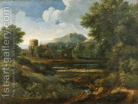 An extensive Italianate landscape with shepherds by a river by (after) Jan Frans Van Orizzonte (see Bloemen) - Reproduction Oil Painting