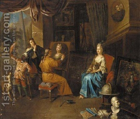 An artist in a studio painting a portrait of a lady by (after) Jan Josef, The Elder Horemans - Reproduction Oil Painting