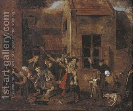 A brawl outside a tavern by (after) Jan Josef, The Elder Horemans - Reproduction Oil Painting