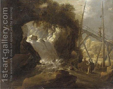 A river landscape with travellers by a cascade by (after) Jan Looten - Reproduction Oil Painting