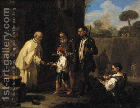 Peasants receiving alms from a monk by (after) Jan Miel - Reproduction Oil Painting
