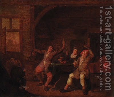 Peasants merrymaking in an interior by (after) Jan Miense Molenaer - Reproduction Oil Painting