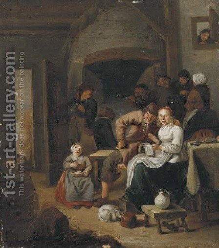 Peasants singing and making merry in an inn by (after) Jan Miense Molenaer - Reproduction Oil Painting