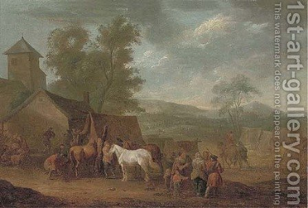 A wooded landscape with horses and figures by a farrier by (after) Jan Peeter Verdussen - Reproduction Oil Painting