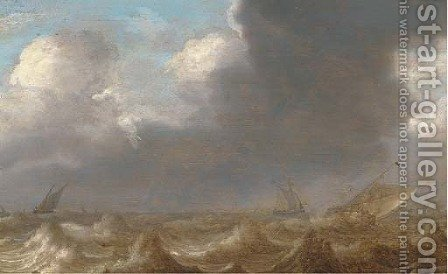Shipping in a squall by (after) Jan Porcellis - Reproduction Oil Painting