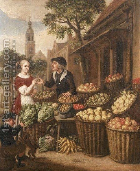 An elegant woman by a fruit and vegetable stall in a town square by (after) Jan Victors - Reproduction Oil Painting