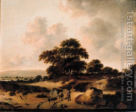 A cowherd leading cattle on a sandy track in the dunes by (after) Jan Wijnants - Reproduction Oil Painting