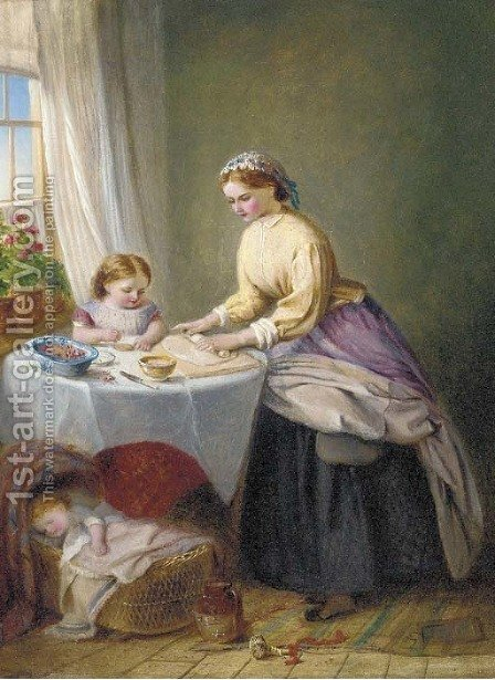 Making cherry pie by (after) Jane Maria Bowkett - Reproduction Oil Painting