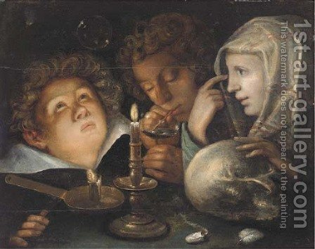 A vanitas allegory Homo Bulla Est, a boy blowing bubbles while another watches and a young woman holds a skull by candlelight by (after) Jacob De II Gheyn - Reproduction Oil Painting