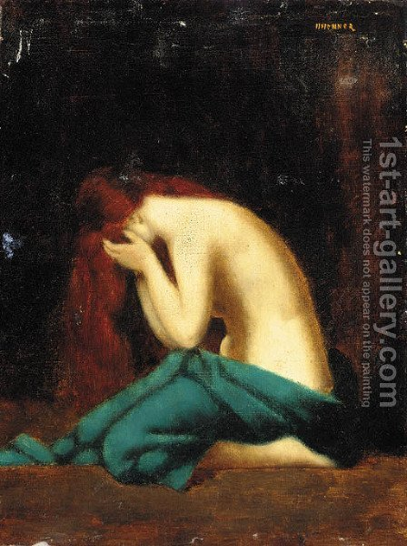 The distraught woman by (after) Jean-Jacques Henner - Reproduction Oil Painting