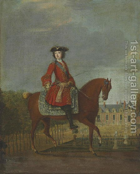 An equestrian portrait by (after) Jean-Baptiste Martin - Reproduction Oil Painting