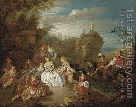 A fete champetre with boys fishing in a stream beyond by (after) Jean-Baptiste Joseph Pater - Reproduction Oil Painting