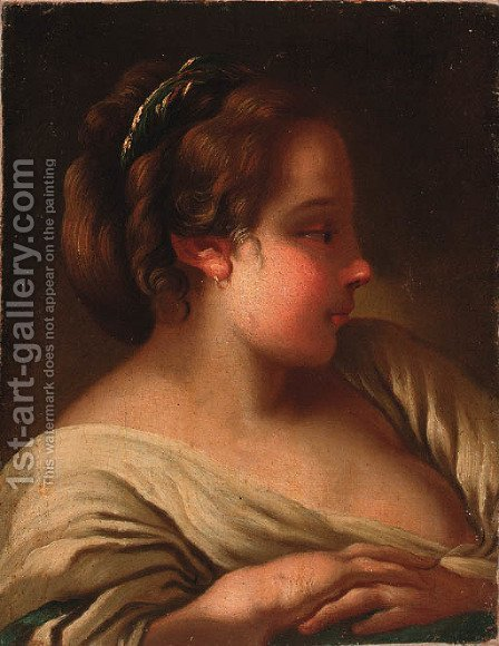 A young girl by (after) Jean-Baptiste Deshays - Reproduction Oil Painting
