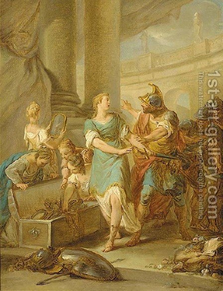 Odysseus discovering Achilles amongst the Daughters of Lycomedes by (after) Jean-Francois Clermont - Reproduction Oil Painting