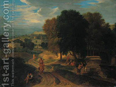 Figures in a classical landscape by (after) Jean-Francois Millet - Reproduction Oil Painting