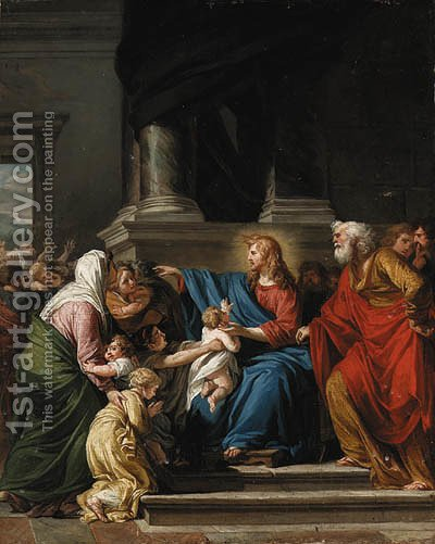 Christ blessing the Children by (after) Jean-Germain Drouais - Reproduction Oil Painting