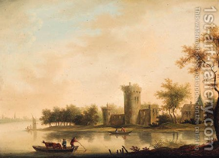 A river landscape with a ferry before a tower and a church by (after) Johann Christian Vollerdt Or Vollaert - Reproduction Oil Painting