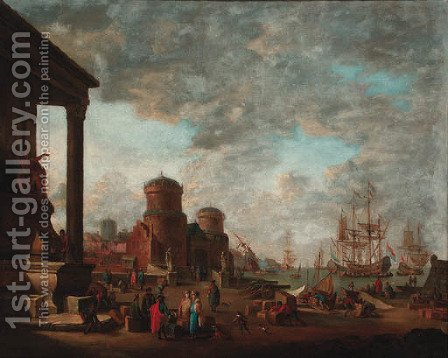 A Mediterranean harbour with moored men-'o-war and other shipping with oriental merchants and stevedores on a quay by (after) Johann Georg Stuhr - Reproduction Oil Painting
