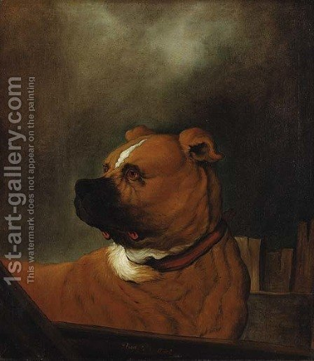 A mastiff standing in a stall by (after) Johann Heinrich Roos - Reproduction Oil Painting