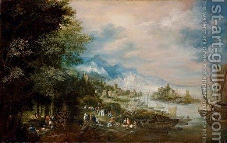 A coastal landsape, with hunters in the foreground and a town beyond by (after) Johannes Jacob Hartmann - Reproduction Oil Painting