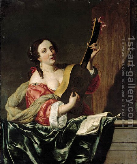 A lady playing a guitar on a balcony by (after) Johannes Van Bronckhorst - Reproduction Oil Painting