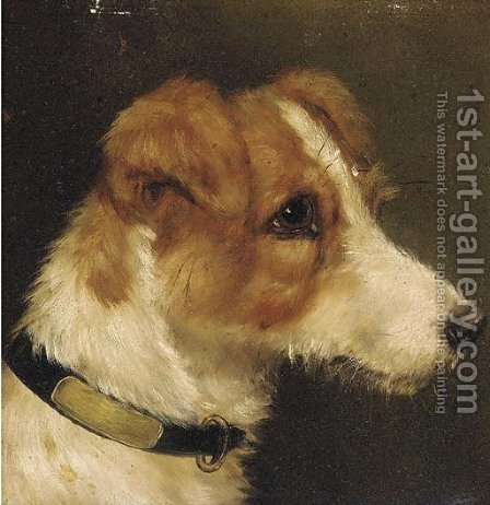 The head of a terrier by (after) John Arnold Wheeler - Reproduction Oil Painting